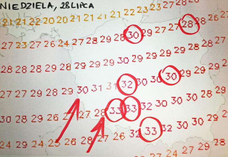 Prognozowana temperatura powietrza na niedzielę 28 lipca w Polsce (wetter3.de)
