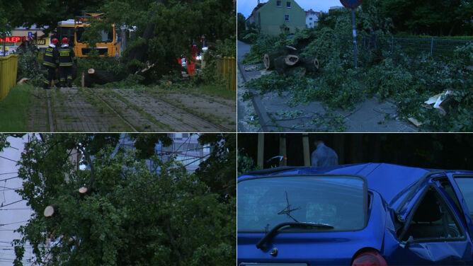 Połamane drzewa, zniszczone samochody. Skutki wichury