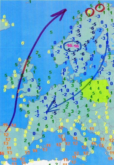 Temperatura powietrze w niedzielę około godziny 7 (wetteronline.de)