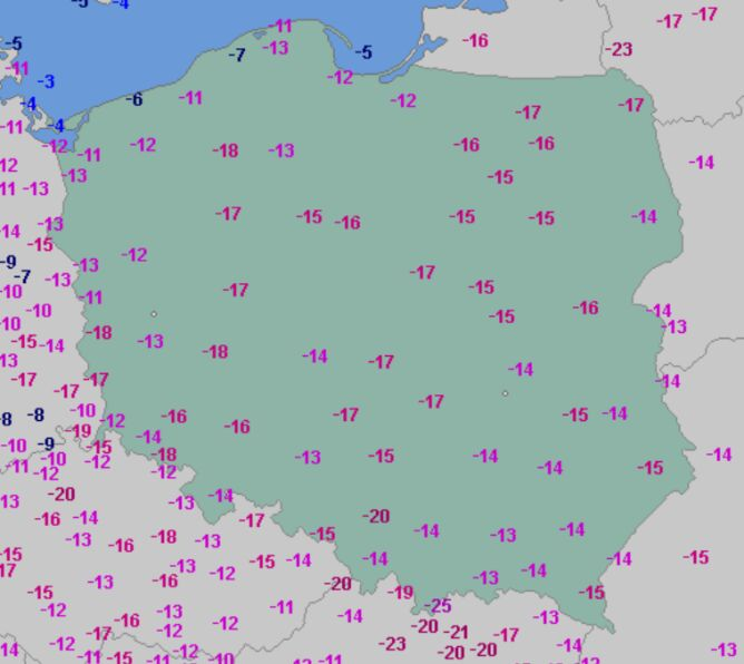Temperatura minimalna 12 lutego (wetteronline.de)