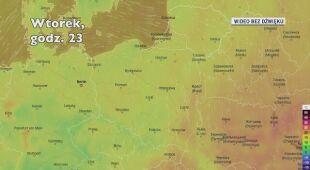 Prognozowana temperatura w ciągu kolejnych dni (Ventusky.com)